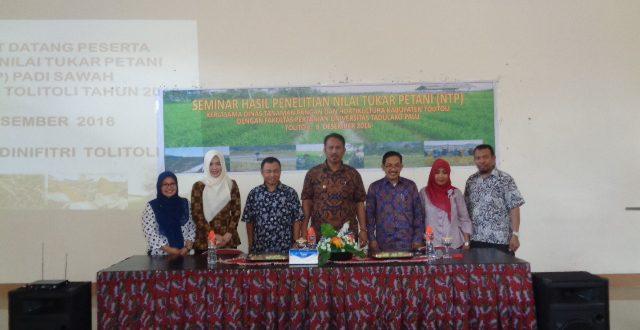 Seminar Hasil Penelitian Nilai Tukar Petani (NTP) bekerjasama dengan Dinas Tanaman Pangan dan Hortikultura Kabupaten Toli-Toli
